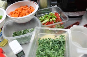 Chopped vegetables after knife skills practice!
