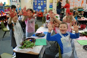 Missoula students show off their beet-stained hands during a Harvest of the Month educational activity.